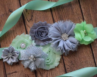 Mint and grey sash ,flower Belt, maternity sash, wedding sash, flower girl sash, maternity sash belt