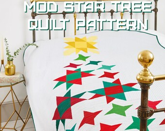 Mod Star Tree Quilt Pattern - A Pattern Digital Download (PDF) by Quilting Jetgirl