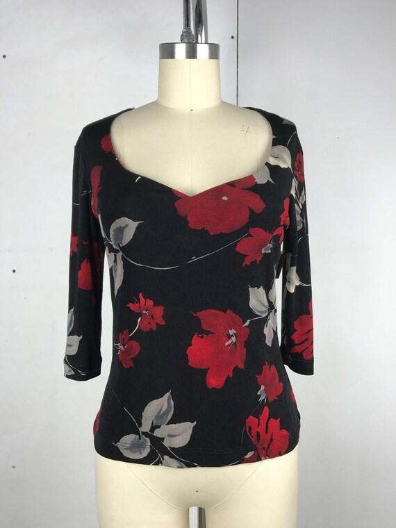 90s black slinky stretchy floral top medium WT85605