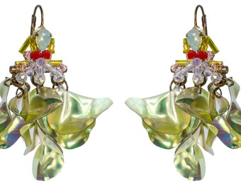 """Mid size dangling earrings """"Blooming garden"""""""
