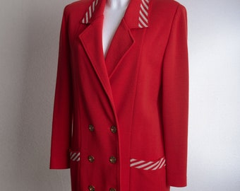 Vintage 80s DEVERNOIS Paris double breasted blazer - red with shoulder pads - striped collar and pockets - Sz. 40 (GER) / 42 (FR)