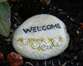 Fairy Garden Welcome Stone Miniatures fairy Garden Accessories