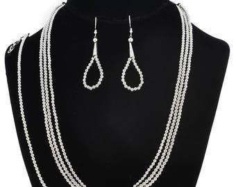 Navajo Sterling Desert Pearl beads Necklace Set Three Strand Choker with Bracelet and Earrings