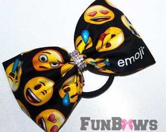Just simply Fun new Emoji Sewn Boutique cheer bow by FunBows - with a little bling