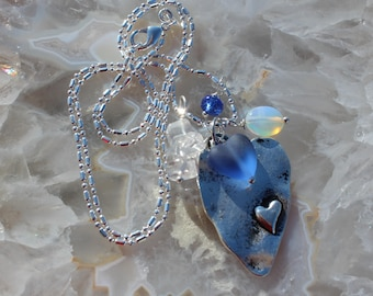 Antiqued Heart and Ice Necklace Blue sea glass swarovski Crystal Necklace Jewelry gifts by Inarajewels