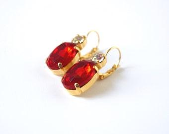 Ruby Rhinestone Earrings, Bright Red Crystal, Red Rhinestone Jewelry, Red Bridesmaid, Bright Red Wedding Earring, Ruby Paste Regency Jewelry
