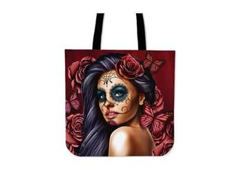 Calavera Girl Left Canvas Tote Bag (Select Color)