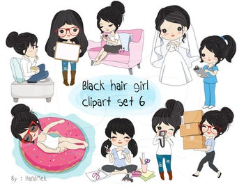 Black hair girl clipart set 6 ,girl stickers clipart instant download PNG file - 300 dpi