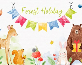 Watercolor PNG holiday set of cute forest animals,  Set for children's parties , balloons, forest animal