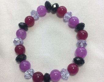 Purple, Magenta & Black Beaded stretch Bracelet, purple bracelet, magenta bracelet, bright, colorful, bold, gift, beaded bracelet, spring