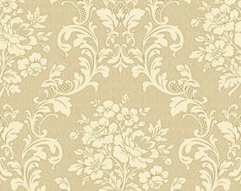 Cream Floral Scroll on Beige, RuRu Bouqet Tea Party, Quilt Gate (By YARD)~
