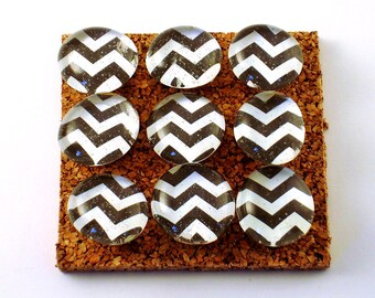 Decorative Funky Push Pins  Thumb Tacks Cork Board Pins  Black Chevron (P124)