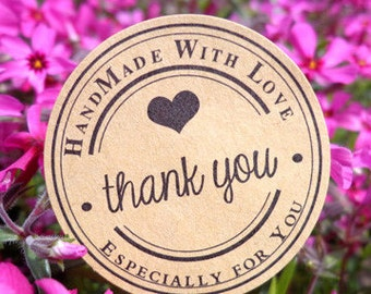 Thank you stickers, handmade with love, gift labels, envelope seals, kraft stickers, gift bag especially for you round rustic paper stickers
