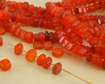 40 Horn Beads Orange Color Nuggets Genuine Natural Animal Beads 6mm x 4mm Real Horn Dyed beads