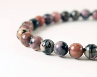 Black & Pink Stone Bracelet - Custom Rhodonite Bracelet with Antique Silver Focal - Pink Stretch Bracelet - Natural Stone Bracelet