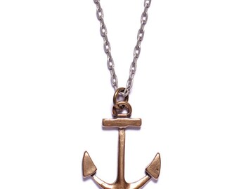 Mens Necklace - Mens Jewelry - Bronze Anchor Necklace - Silver Chain - Men's Gift - Anchor Jewelry - Man Jewelry - Man Necklace