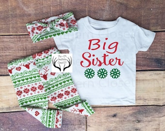 Girls Christmas Outfit,Big Sister,Girls Christmas Outfit,Big Sister Christmas Outfit,Christmas,Red,Green,Red Deer,Leggings,Shirt,Headband