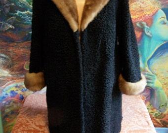 50s Swing Coat, Curly Lamb Jacket, Black swing coat, Fur swing Jacket, 1950s swing coat, size M / L