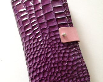 Leather iPhone Purse in purple and pink - hand stitched