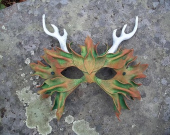 Autumn Green Man Leather Mask with Antlers