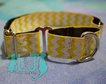 "Yellow Chevron 1"" Martingale Dog Collar"