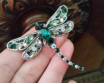 Crystal wedding dragonfly green and white brooch silver tone with emerald crystal