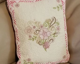 Vintage Flourished Heart Quilted Pillow - Small