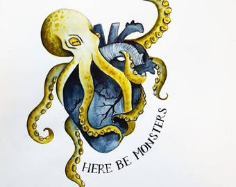 Here be Monsters print