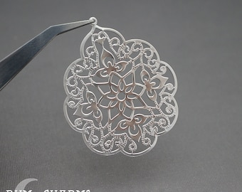 0178 - Pendant Connector, Matte Original Rhodium, Large Floral Gothic Filigree Pendant, 2 Pieces