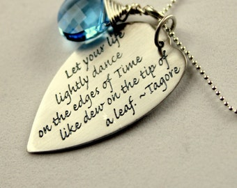 Custom Inspirational Necklace Graduation Gift, Tagore Quote, Dance, Life Quote, Personalized Graduation Gifts,  Grad Gift,  Mothers Day