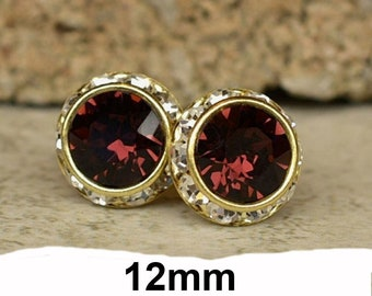 12mm Burgundy Xirius Gold surrounds Rhinestone stud earrings, Burgundy Crystal Surrouds Stud earrings