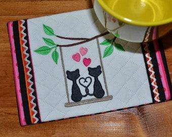 Kitty Love, handmade, embroidered