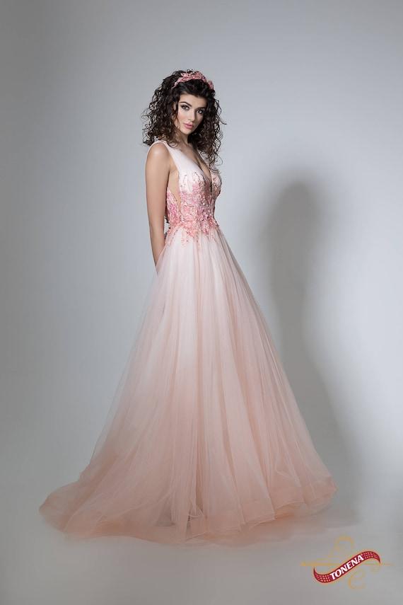 Blume Hochzeitskleid in Pfirsich Farbe Hochzeitskleid
