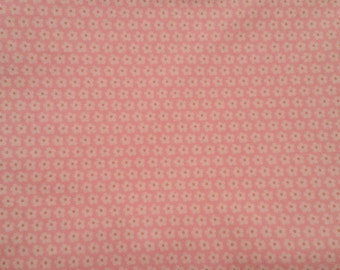 Tiny White Daisies on Pink Background - Cotton Woven Fabric