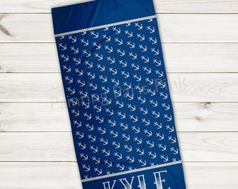 Beach Towel | Anchors Personalized | Extra Large 30x60 | Ultra-Soft Sheared Microfiber | Summer Nautical | Gift | Little Boy