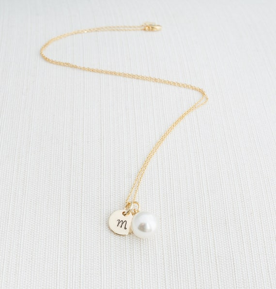 Gold Initial & Pearl Necklace Gold Pearl Necklace