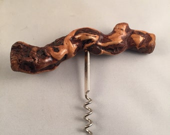 Natural Knotted Wood Wine Bottle Corkscrew Barware