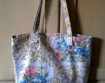 Vintage Pale Blue Floral Linen Fabric Lined Bag / Shopper / Tote /Bag for Life /Re-usable bag/Zero waste/Plastic free