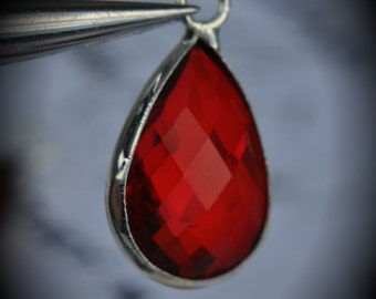 Silver Plated Bezel Brass Faceted Glass Tear Drop Pendant - Bright Red