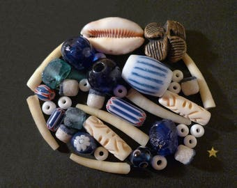 African beads of glass, bone, Horn, shell and Terra cotta