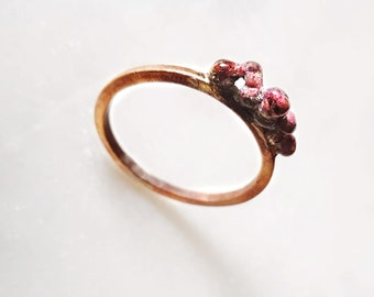 Berry Stack Ring - Texture Stackable Yellow Bronze and Enamel Ring