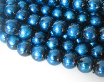 40 Black and Royal Blue Glass Beads, 10mm, Jewelry Making Supplies, Beads