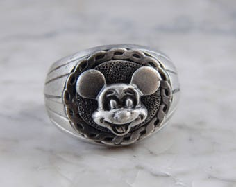 Mickey Mouse 3 D Pewter Ring, Vintage Mickey Mouse Ring