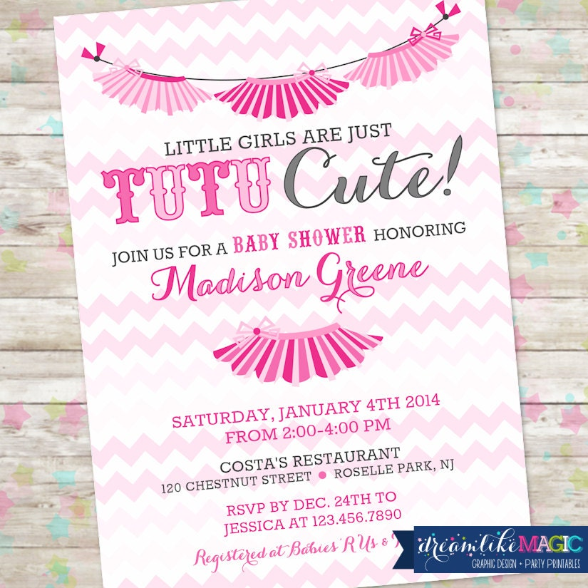 Tutu Baby Shower Invitations Girls Baby Shower Invitations