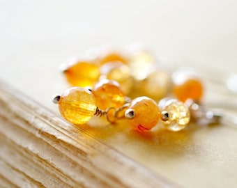 Genuine Carnelian Cluster Earrings, Genuine Gemstone Citrus Orange Beaded Dangles, Sterling Silver Orange Stones
