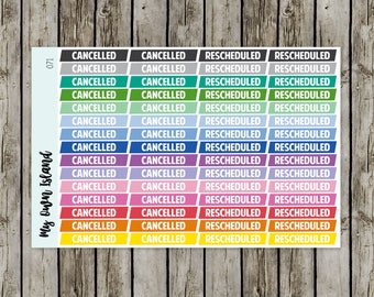 071 Cancelled / Rescheduled // Matte Repositionable Stickers // Any Planner // EC Palette