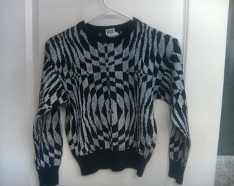 Vintage Bullocks Wilshire Made In Italy optical illusion black and silver mettalic sweater acrylic