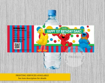 Sesame Street Birthday Water Bottle Labels, Elmo Personalized Water Bottle Wrappers, DIY Printables, Sesame Street Elmo Party Supplies