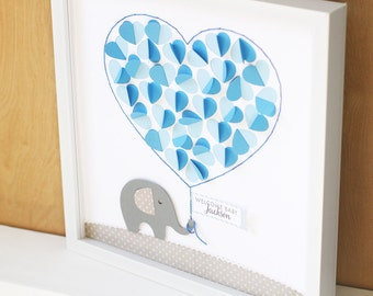 Baby Shower Guest Sign In, Baby Shower Gift, Elephant Nursery Art, Personalized Guest book, Baby Boy Decor, Boy Baby Shower Guest Book