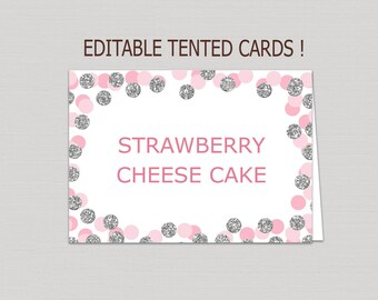 Editable Blush Pink & Silver food tent card download, food tents printable, buffet cards, silver food tent card, confetti place cards B16